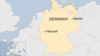 A BBC map showing the location of the town of Hennef in West Germany