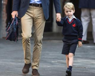 Prince William is seen on his way to school.