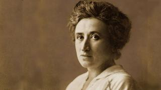 Black and white portrait of Rosa Luxemburg