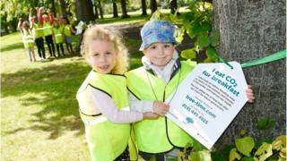 Sophia and Hugo from Flora Stevenson School helped launch the initiative