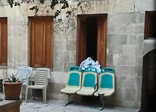 waiting room chairs in the courtyard