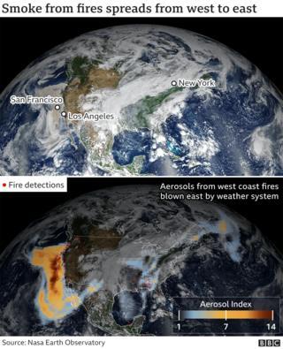 Nasa satellite image showing plumes of smoke crossing the US