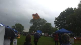 Bouncy castle lifts off the ground