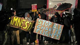 Protest against government plans to deport 50 people to Jamaica