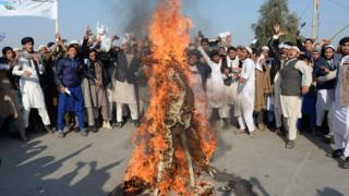 Manifestantes queman una efigie del presidente de EE.UU., Donald Trump