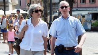 Theresa May and her husband Philip in Italy