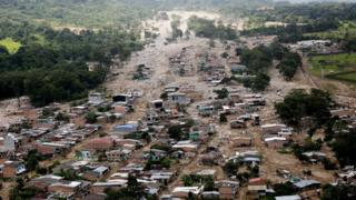 Aerial views shows the devastation in Mocoa, Colombia, 4 April 2017