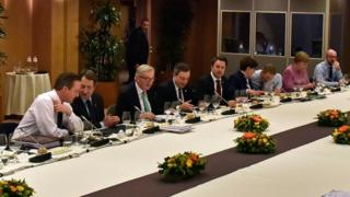 EU leaders during a round-table negotiation session, Burssels (19 Feb)