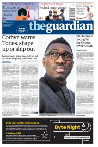 Guardian front - 27/9/17