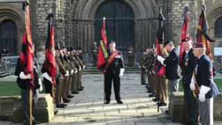 Military funeral at Lincoln Cathedral