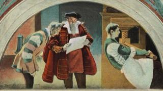 لوحة فنية تجسد شخصية يوهان غوتنبرغ