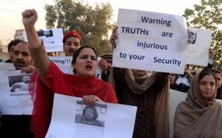 Protests calling on Pakistani government to retrieve missing activists