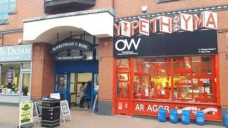 Picture of the People's Market and Oriel Wrecsam next door to each other.
