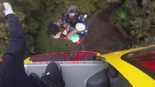 Lismore Westpac Life Saver Rescue Helicopter winched Mr Worboys off Mr Warning