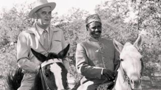 पाकिस्तानी ऊंटवाला बशीर अहमद उपराष्ट्रपति लिंडन बी जॉनसन के साथ