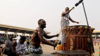 A drummer at work at the swearing-in ceremony of Ghanaian new president, Nana Akufo-Addo.