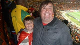 Paul Dubberley and son Jack at World Cup final in South Africa