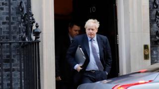 Boris Johnson leaves 10 Downing Street on Saturday 19 October