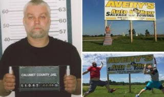 Mugshot of Steven Avery and people posing next to signs