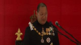 King Tupou VI speaks at the opening of parliament in 2015