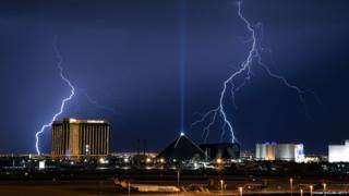 Lightning flashes on the Las Vegas Strip