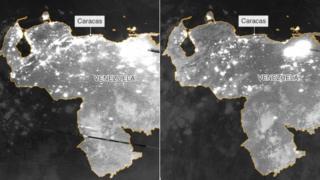 Снимки со спутников показывают вечер в Венесуэле 7 марта, незадолго до блэкаута, а также вечер 8 марта, когда западная часть страны оказалась в темноте