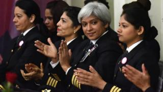 Female pilots for Air India, the country's state owned carrier, applaud.