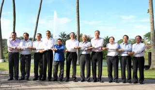 Asean defence ministers pose for a photograph in Kuala Lumpur 3 November 2015