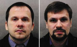 A composite picture showing Alexander Petrov and Ruslan Boshirov, two suspects in the Salisbury attack, images taken from the travel documents they used to enter the UK