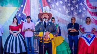 João Padovese discursa em evento organizado pela Fraternidade e Descendência Americana em Santa Bárbara