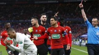 Kylian Mbappe avait été expulsé du match contre Rennes en finale de la Coupe de France.