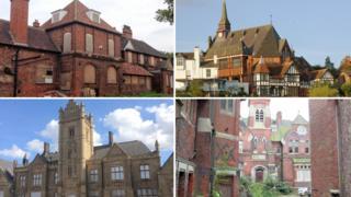 A composite image of four buildings