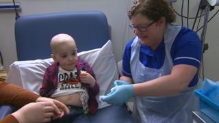 Macsen undergoing treatment
