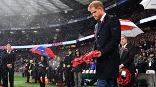 Duke of Sussex, walks to lay a wreath on the pitch ahead of the autumn international rugby union match between England and New Zealand at Twickenham stadium