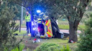 Police car after crash