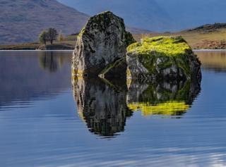 Rocks in water at Loch Arklet