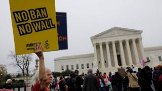 Protesters at the US Supreme Court.
