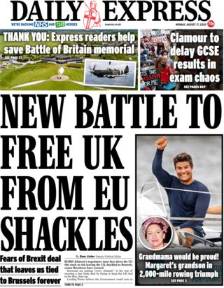 The Daily Express front page 17 August 2020