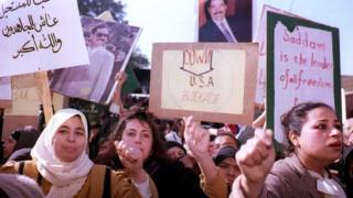 1992'de Bağdat'taki protestolardan bir kare