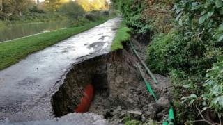 Damage to the embankment along the Kennet and Avon Canal
