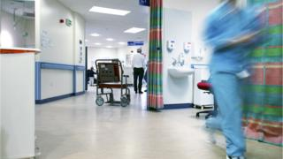 Hospital ward. Empty wheelchair on the accident and emergency ward