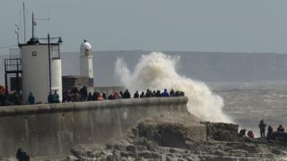 Waves crash on to Porthcawl seafront