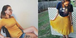 Left - Abby Sams on a wheelchair, right - Abby Sams standing, wearing a skirt