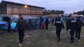positive news Police moved in shortly after dawn to clear the camp on Tuesday 17 September