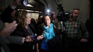Jody Wilson-Raybould, former Canadian justice minister, is surrounded by journalists