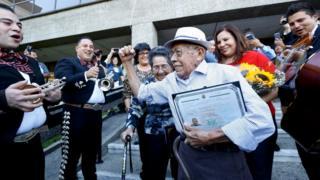 Fabio Alvarado, 91, originally from El Salvador was sworn in as a US citizen on election day