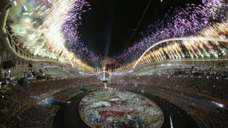 Image shows 2004 Olympic Games Opening ceremony in Athens with an amazing firework display