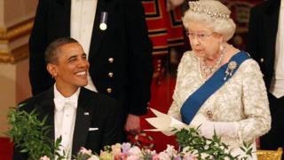 บารัค โอบามา และสมเด็จพระราชินีอังกฤษ