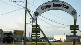 The entrance to Camp America is seen at the US Guantanamo Naval Base, Cuba (11 February 2016)