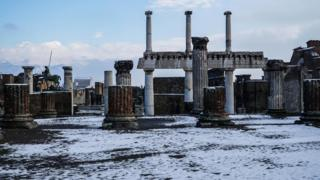 The excavation site in Pompeii is covered with snow after a snowfall, in Pompeii near Naples, Italy, 27 February 2018.